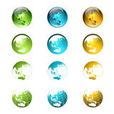 Światowy Stubarwny kula ziemska logo lub ikony kolekcja Zdjęcia Stock