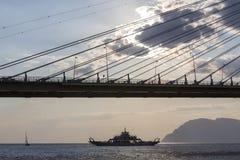 światowy także był w oddaleniu antirrio architekt jak był pelengów berdj mosta kabla Charilaos rozważający Corinth skrzyżowanie p Fotografia Royalty Free