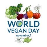 Światowy weganinu dzień Wektorowa ilustracja tło z warzywami, wliczając pomidoru, marchewka, pieprz, cebula, koper ilustracja wektor