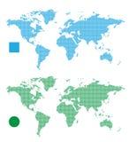Światowych map abstrakcjonistyczny prostokąt i kropka Fotografia Stock