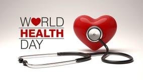 Światowych zdrowie dnia pojęcie z sercem i stetoskopem Zdjęcia Stock