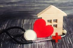 Światowych zdrowie dzień pojęcie rodzinna medycyna i ubezpieczenie, Stetoskop i serce zdjęcie royalty free