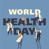 Światowych zdrowie dzień 7th Kwiecień z wizerunkiem lekarki ściągania ilustracj wizerunek przygotowywający wektor ilustracji