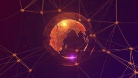 Światu AI sztucznej inteligencji Globalnej sieci pojęcie IOT internet rzeczy ICT Globalna sieć komunikacyjna ilustracja wektor