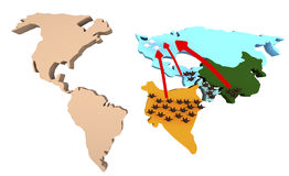 Światu 3d mapa z barwionymi postaciami Fotografia Royalty Free
