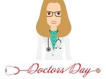 Światu s Doktorski dzień, logo z stetoskopem i kobiety lekarka w szkłach w pięknym projekcie, wektor royalty ilustracja