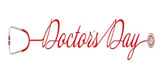 Światu s Doktorski dzień, logo z stetoskopem w pięknym projekcie wektor ilustracji