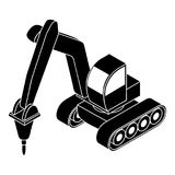 Świder ciągnikowa ikona, prosty styl Obraz Royalty Free