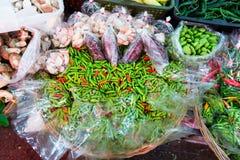 Świeża żywność rynku kram w Tajlandia Zdjęcie Stock