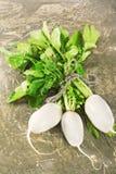 Świeża biała rzodkwi wiązka z zielenią opuszcza na drewnianym tle Zdjęcia Stock