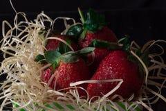 Świeża, czerwień i zieleń truskawka Fotografia Royalty Free