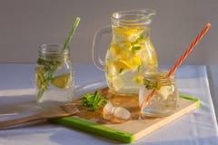 Świeża domowej roboty lemoniada z cytrynami, mennicą i lodem, obraz stock