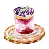 Świeża jogurt ilustracja Ręka rysująca akwarela na białym tle Zdjęcie Royalty Free