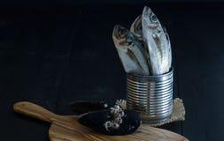 Świeża makrela w konserwować cynie na ciemnym tle fotografia royalty free