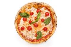 Świeża margarita pizza odizolowywająca na bielu Obraz Royalty Free