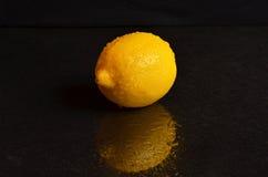 Świeża mokra cytryna na czarnym tle Obraz Royalty Free