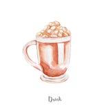 Świeża napój ilustracja Ręka rysująca akwarela na białym tle Obrazy Stock