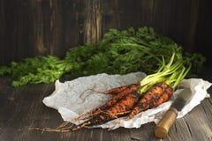 Świeża organicznie marchewka nad drewnianym stołem Fotografia Stock