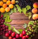 Świeża owoc na drewnianym stole Zdjęcie Stock