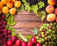 Świeża owoc na drewnianym stole Zdjęcia Stock