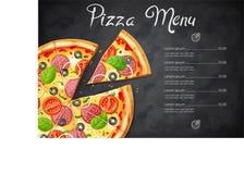 Świeża pizza z pomidorem, ser, oliwka, kiełbasa, cebula ilustracja wektor