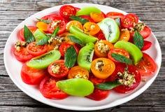 Świeża pomidorowa sałatka, zakończenie Zdjęcia Stock