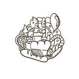 Świeża prosta ręka rysujący piekarni doodle Fotografia Royalty Free
