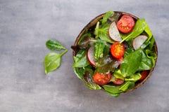 Świeża sałatka z dziecko szpinakiem i pomidorami, rzodkwi und sałatka Zdjęcie Stock