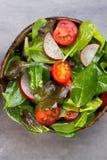 Świeża sałatka z dziecko szpinakiem i pomidorami, rzodkwi und sałatka obraz stock