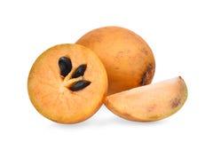 Świeża sapodilla owoc odizolowywająca na bielu zdjęcia royalty free