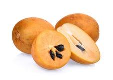 Świeża sapodilla owoc odizolowywająca na bielu obraz royalty free