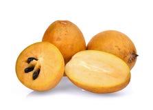 Świeża sapodilla owoc odizolowywająca na bielu zdjęcia stock