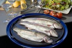 Świeża surowa denna ryba przygotowywająca gotującą Śródziemnomorski owoce morza cui Obraz Royalty Free