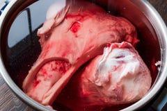 Świeża Surowego mięsa kość Gotuje się w wodzie Zdjęcie Stock