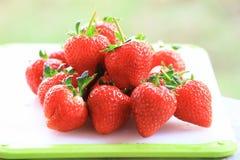 Świeża truskawka, słodkie owoc na białej plastikowej ciapanie desce, obraz royalty free