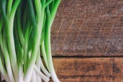 Świeża wiosny cebula na drewno stole Zamyka w górę scallions o lub wiosny Zdjęcia Royalty Free