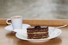 Świeża wyśmienicie kawa z deserem Obrazy Royalty Free