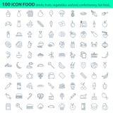 Świeża Żywność menu ikony restauracyjny set Obraz Royalty Free