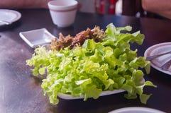 Świeża zieleń i czerwony dąb opuszczamy na stole Fotografia Stock