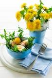 Świeża zielona dandelion sałatka na błękitnym pucharze Obraz Royalty Free