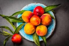 Świeże brzoskwinie na błękita talerzu, szarości łupkowy tło Odgórny widok Fotografia Stock