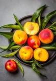 Świeże brzoskwinie na czarnym talerzu, szarości łupkowy tło Odgórny widok Zdjęcia Stock