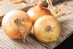 Świeże cebule na drewnianym stole Obraz Stock
