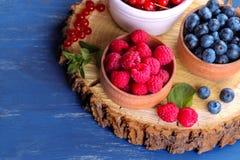 Świeże czarne jagody, rodzynki i malinki w pucharu zakończeniu na drewnianym stojaku z nowymi stamens na błękitnym drewnianym bac zdjęcie stock