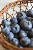 Świeże czarne jagody w tkanym koszu Fotografia Stock