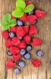 Świeże jagody na stary drewnianym Zdjęcia Royalty Free