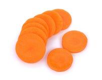 Świeże marchewki, pokrajać Fotografia Royalty Free