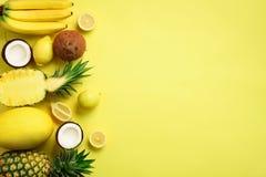 Świeże organicznie żółte owoc nad pogodnym tłem Monochromatyczny pojęcie z bananem, koks, ananas, cytryna, melon wierzchołek zdjęcie royalty free