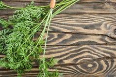 Świeże organicznie marchewki z wierzchołkami na drewnianym stole obraz royalty free