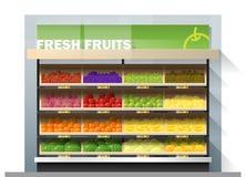 Świeże owoc dla sprzedaż pokazu na półce w supermarkecie Ilustracja Wektor